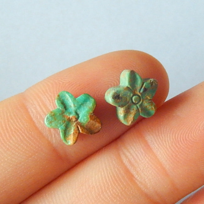 Natural Cavring Turquoise Flower Gemstone Cabochon Pair 8x3mm,0.6g - MyGemGarden