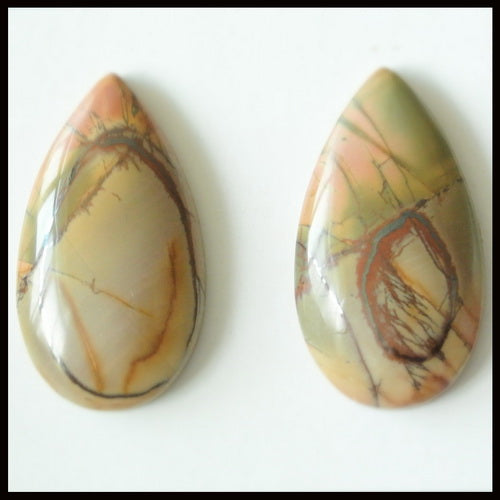 Natural Multi-Color Picasso Jasper Gemstone Cabochon Pair 36x20x7mm,16.25g - MyGemGarden