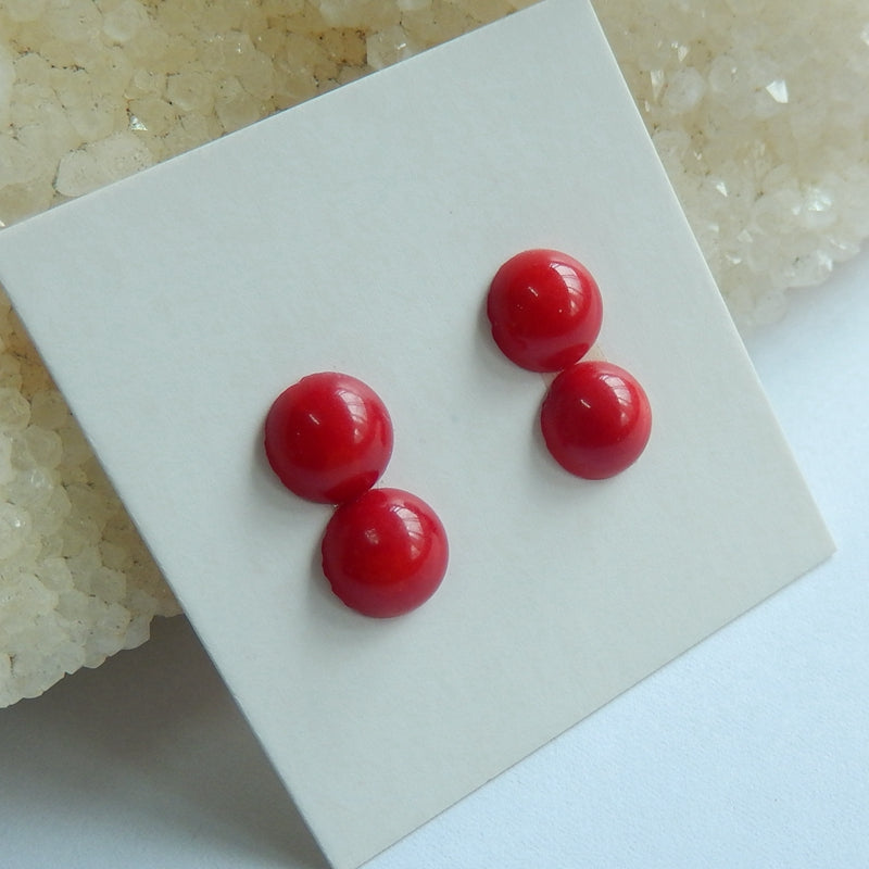 4 pcs Red Coral 7mm round cabochons, 7x7x4mm, 1.7g - MyGemGarden