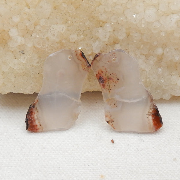 Nugget Agate Earrings Stone Pair, stone for earrings making, 35x20x2mm, 5.6g - MyGemGarden