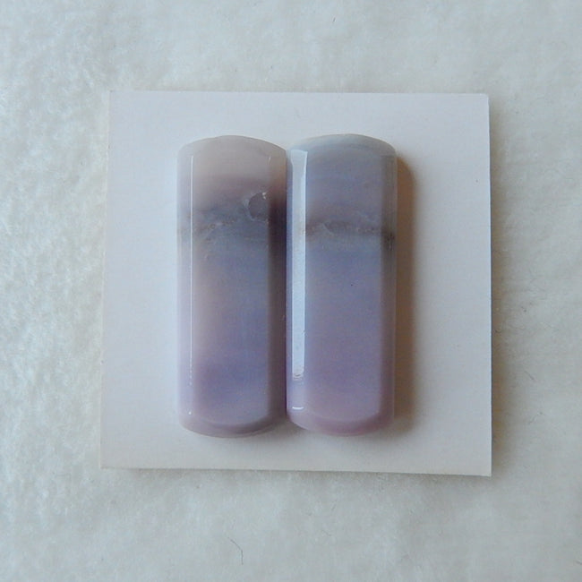 Custome Freedom Purple Agate Cabochon Pair 30x11x4mm,5.9g - MyGemGarden