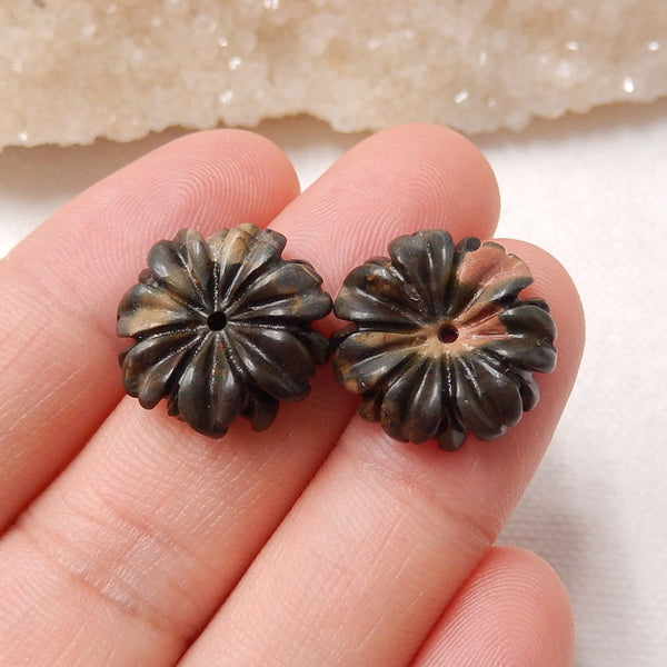 Multicolor Picasso Jasper Carved Flower Earrings Stone Pair, 16X4.5mm, 2.9g - MyGemGarden