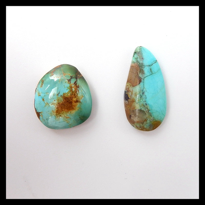 2 Pcs High quality Aricona?Turquoise  Cabochons,17x16x5mm,22x11x4mm,3.6g - MyGemGarden
