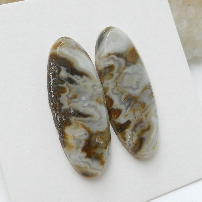 Natural Ocean Jasper Oval Gemstone Cabochon Pair, 24x9x3mm, 3.2g - MyGemGarden