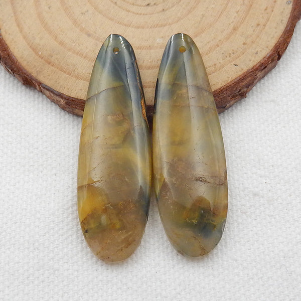 Teardrop Yellow Opal Earrings Stone Pair, stone for earrings making, 43x14x5mm, 9.9g