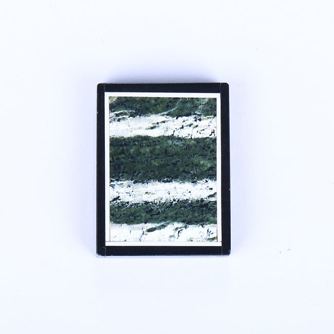 Black Jasper and Green Zebra Jasper Glued Rectangle Pendant, 36x26x8mm, 16.8g - MyGemGarden