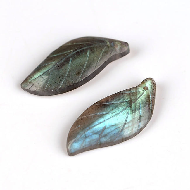 Natural Gemstone Labradorite carved leaf shaped Earrings Pair, 27x12x4mm, 3.8g - MyGemGarden