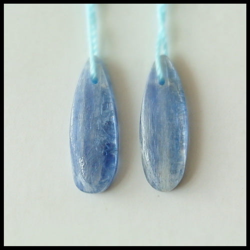 Natural Blue Kyanite Gemstone Earrings Pair, 23x8x3mm, 3.2g - MyGemGarden