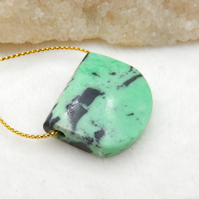 Green Turquoise Side Drilled Pendant Stone, 30x25x9mm, 11.6g