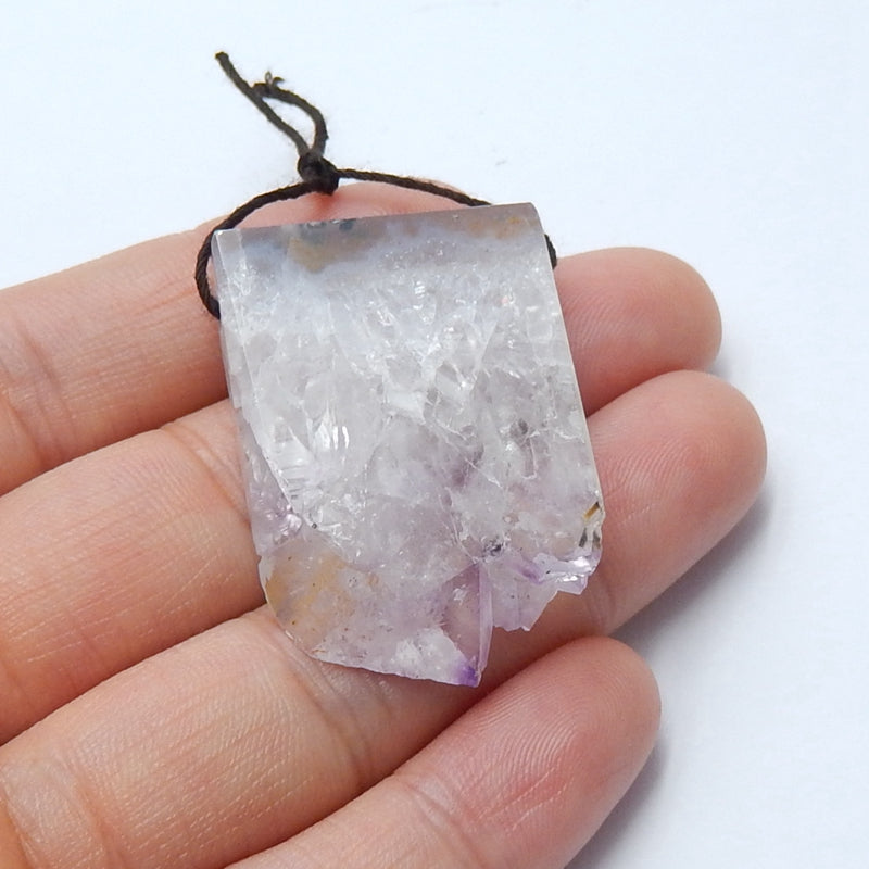 Natural Nugget Amethyst Drilled Gemstone Pendant Bead, 35x25x7mm, 12.7g - MyGemGarden