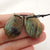 Carved Labradorite Feather Shaped Earrings Stone Pair, 27x19x4mm, 6.4g