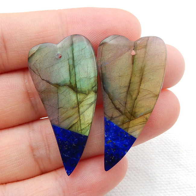 Labradorite and Lapis Lazuli Glued Earrings Stone Pair, 36x18x4.5mm, 8.9g - MyGemGarden