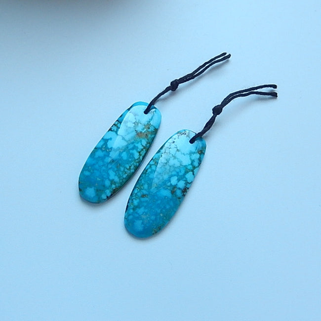 Turquoise Gemstone Natural Earrings Pair, 37x15x4mm, 7.2g - MyGemGarden