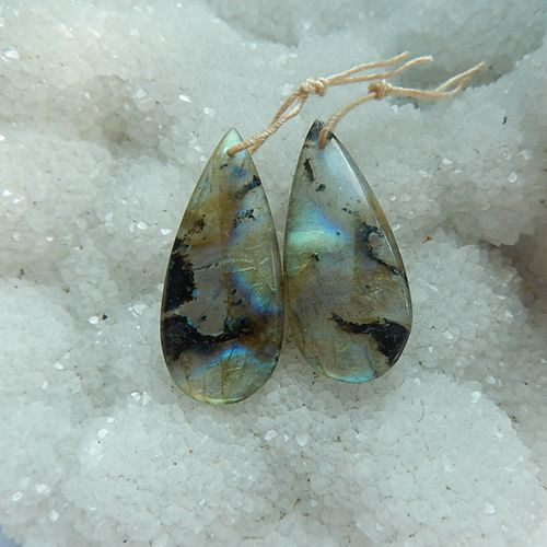 Fashion Labradorite Earrings Pair for Women,34x15x5mm,7.6g - MyGemGarden