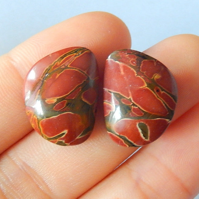 Natural Stone Multi-color Picasso Jasper Cabochon Pairs 18x14x6mm,4.6g - MyGemGarden