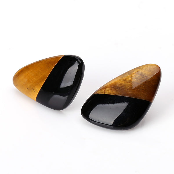 Tiger-Eye and Obsidian Glued Stud Earrings, 22x13x3mm, 2.9g, Silver needle 10mm