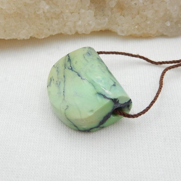 Natural Green Turquoise Side Drilled Pendant Stone, 22x18x10mm, 6g