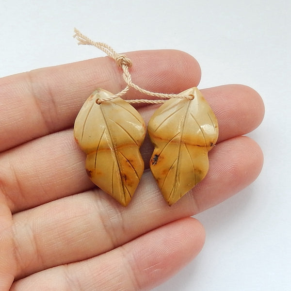 Hot sale Mookaite Jasper Carved leaf Earrings Pair, 30x18x5mm, 6.2g - MyGemGarden