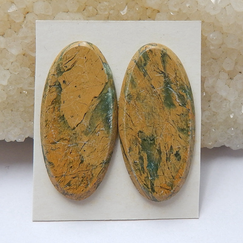 Natural Green opal Oval Gemstone Cabochon Pair, 31x15x3mm, 5.66g - MyGemGarden