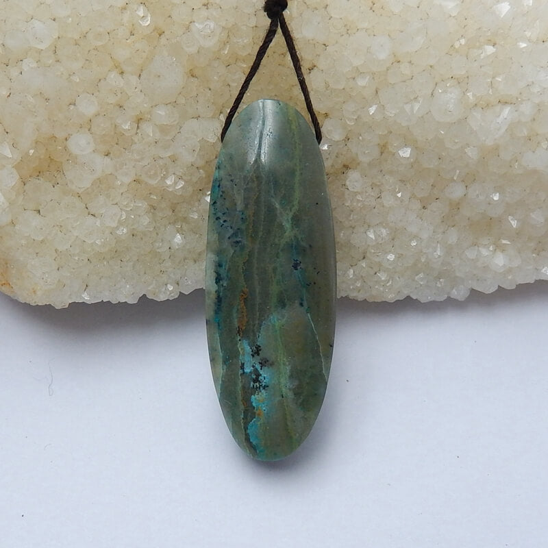 Natural Chrysocolla Gemstone Pendant Bead, 49x18x10mm, 15.1g - MyGemGarden