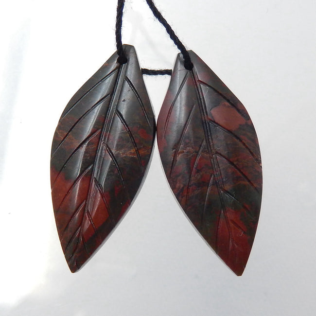 Multicolor Picasso Jasper Carved Leaf Earrings Stone Pair, 33x14x4mm, 6g - MyGemGarden