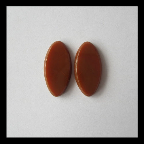 Red Agate Cabochon Pair 26x13x3mm,3.5g - MyGemGarden