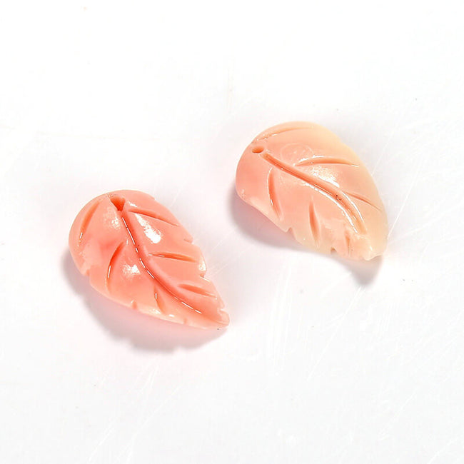 New Arrival Pink Conch Shell Carved Leaf Earrings Pair, 15x10x3mm, 0.7g - MyGemGarden