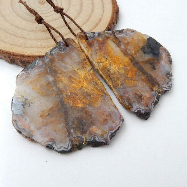 Nugget Agate Earrings Stone Pair, stone for earrings making, 44x33x3mm, 17.8g - MyGemGarden
