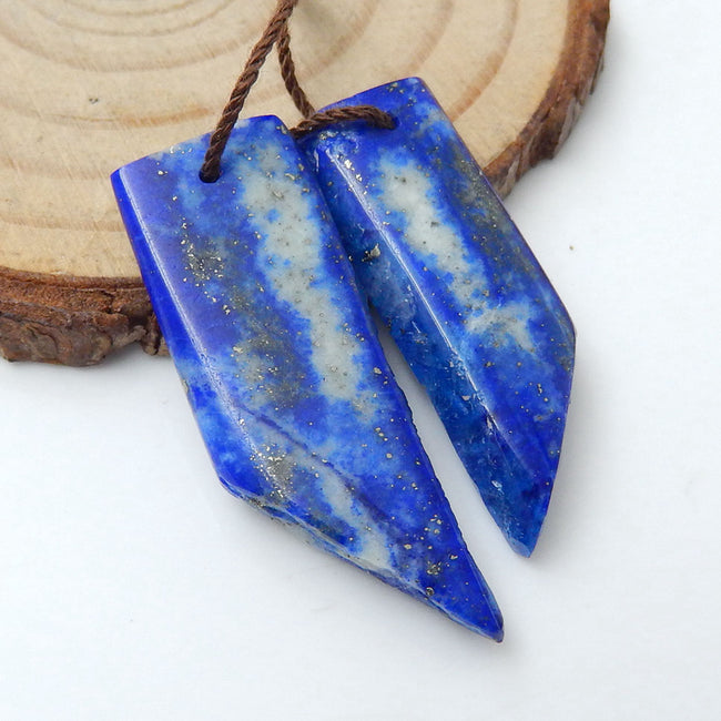 Nugget Lapis Lazuli Earrings Stone Pair, stone for earrings making, 34x12x4mm, 30x10x4mm, 6.6g - MyGemGarden