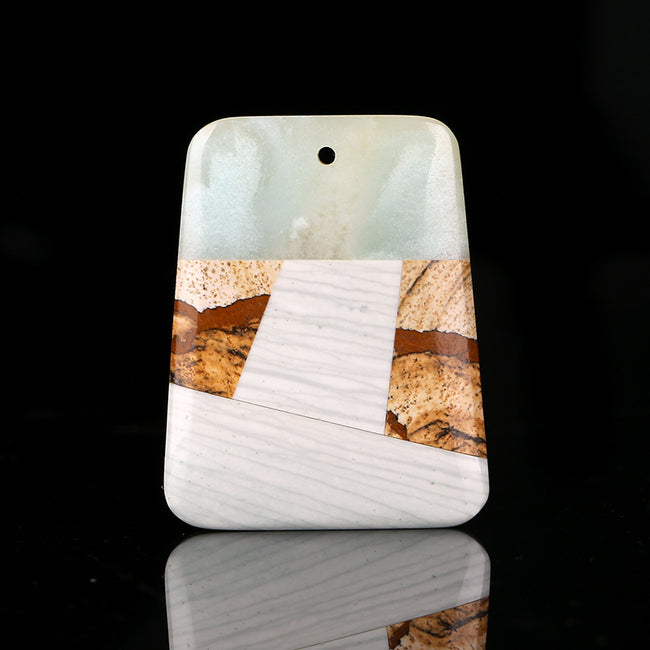 Natural White marble, Amazonite, Picture Jasper And Wave Jasper Drilled Glued Pendant Bead, 47x37x6mm, 20.6g - MyGemGarden