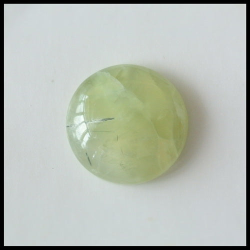 Natural Prehnite Gemstone 17mm Round Cabochon, 17x17x5mm, 3.4g - MyGemGarden