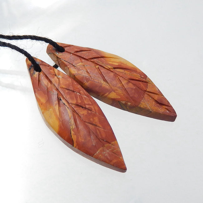 Multicolor Picasso Jasper Carved Leaf Earrings Stone Pair, 28x9x4mm, 2.6g - MyGemGarden