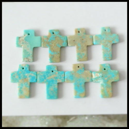 8PCS Natural Turquoise Gemstone Pendant Bead 16x12x2mm, 4.25g - MyGemGarden