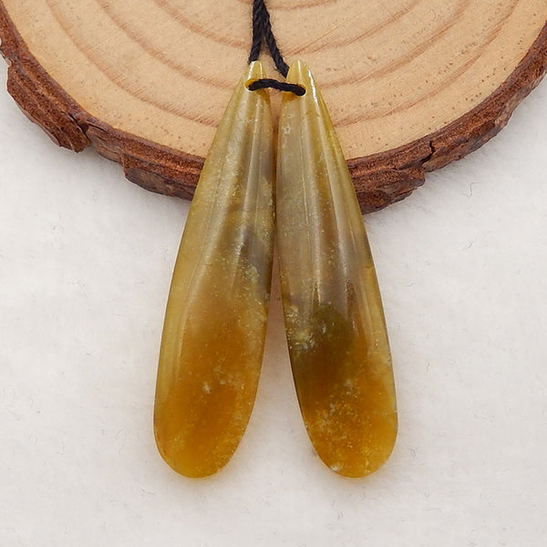 Natural Yellow Opal Teardrop Earrings Stone Pair, stone for earrings making, 40x9x5mm, 4.3g