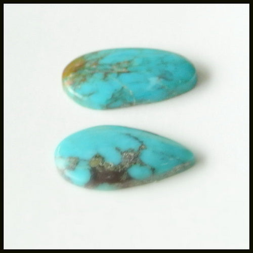 Natural Turquoise Gemstone Cabochon Pair 14x8x2mm,1.2g - MyGemGarden