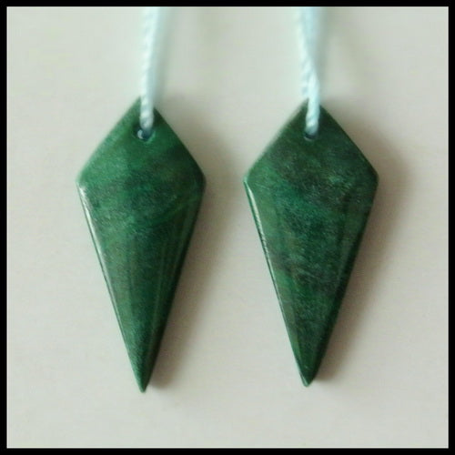 Natural Malachite Gemstone Earrings Pair, 23x10x3mm, 2.9g - MyGemGarden