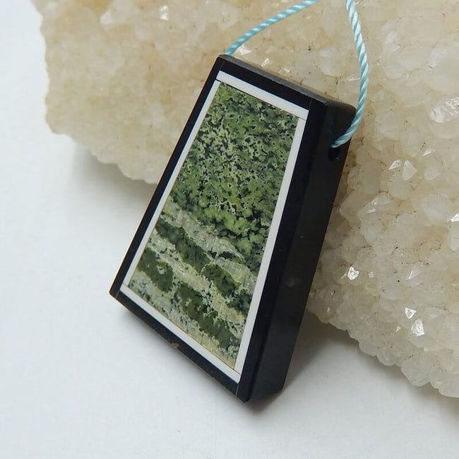 Natural Black Stone and Camouflage Jasper Glued Trapezoid Pendant Bead, 33x25x6mm, 10.6g - MyGemGarden