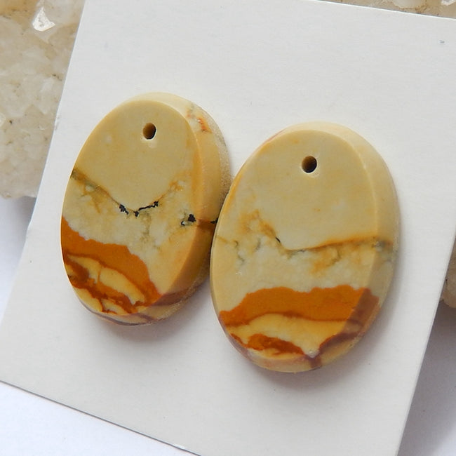 Natural Picture Jasper Drilled Oval Gemstone Earrings pair, 20x15x4mm, 4.9g - MyGemGarden