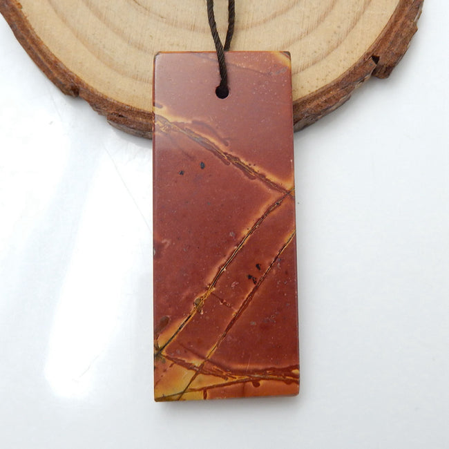 Natural Multi-Color Picasso jasper Gemstone Pendant, Natural Stone Jewelry, 48x20x5mm, 11.5g - MyGemGarden