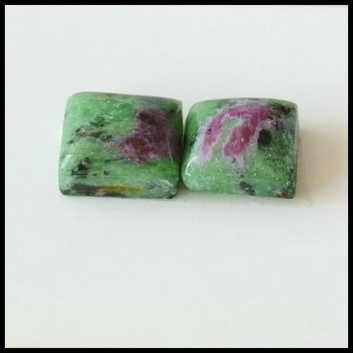 Natural Ruby And Zoisite Gemstone Cabochon Pair, 9x9x5mm,2.6g - MyGemGarden