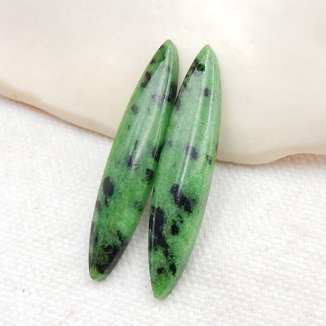 Ruby And Zoisite Marquise Earrings Stone Pair, stone for earrings making, 38x8x4.5mm, 5.6g - MyGemGarden