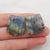 Carved Labradorite Feather shaped Earrings Stone Pair, 23x21x5mm, 8.5g