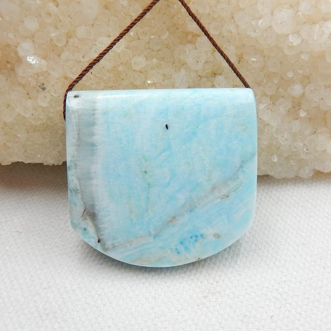 Natural Larimar Side Drilled Pendant Stone, 34x32x13mm, 27.5g