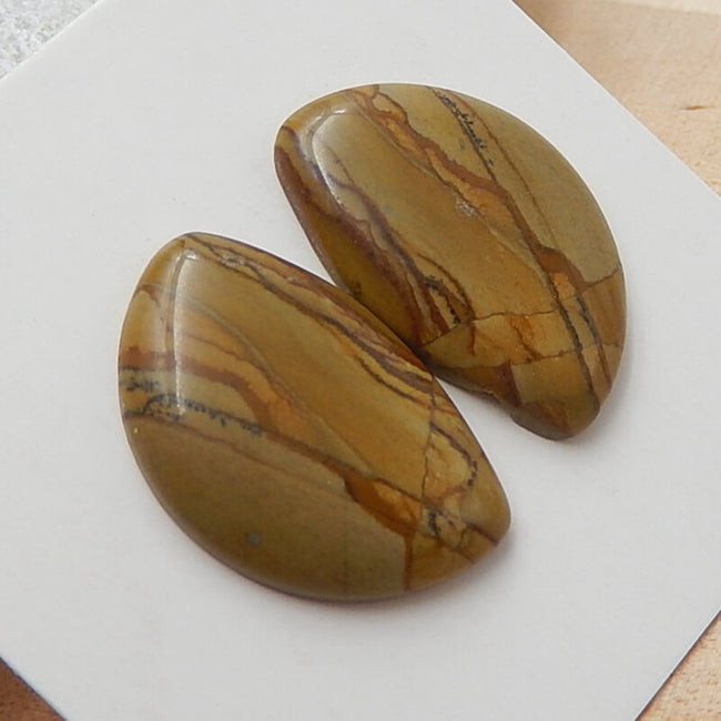 Natural Us Biggs Jasper Gemstone Cabochons pair, 20x13x3mm, 2.4g - MyGemGarden