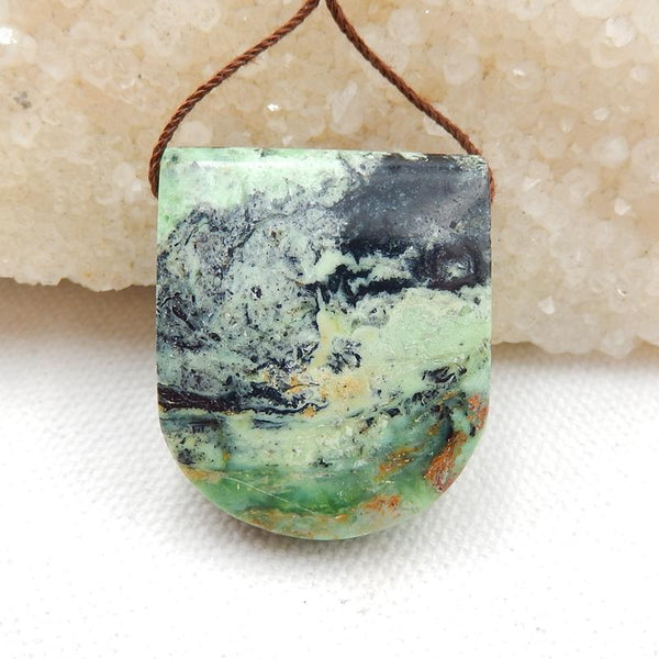 Green Turquoise Side Drilled Pendant Stone, 31x26x12mm, 15.1g