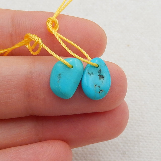 Turquoise Earrings Stone Pair, stone for earrings making, 10x7x2mm, 0.5g - MyGemGarden