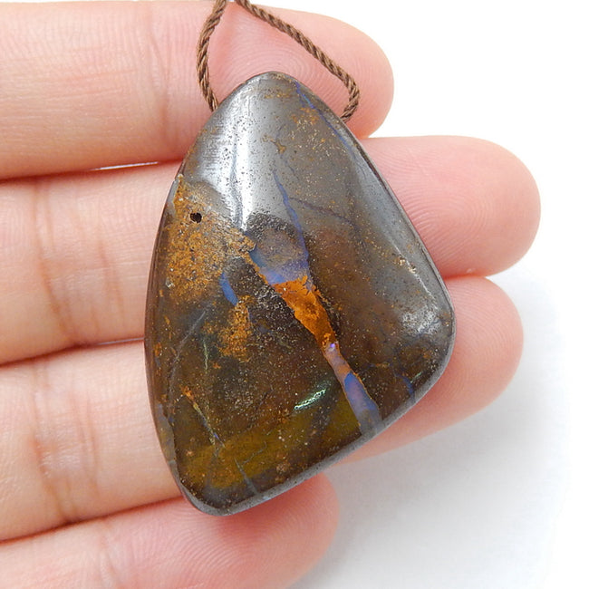 New, Natural Boulder opal Drilled Gemstone Pendant Bead, 37x26x9mm, 13.2g - MyGemGarden