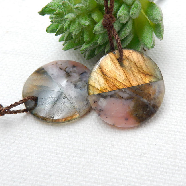 Pink Opal And Labradorite Glued Round Gemstone Earrings Stone Pair, 20x4mm, 5g - MyGemGarden