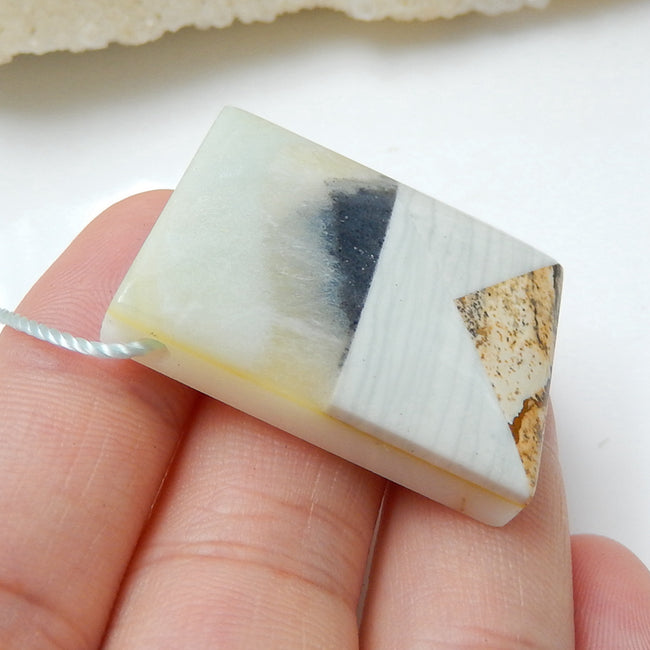Natural Amazonite, Picture Jasper And Wave Jasper Drilled Glued Pendant Bead, 32x24x8mm, 13.4g - MyGemGarden