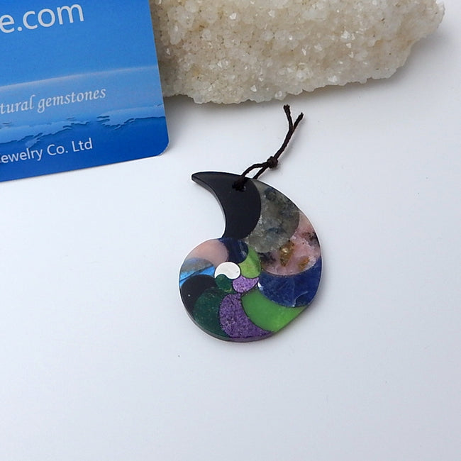 New Design Pink Opal, African Sodalite, Serpentine, African Jade, African Purple Stone And Obsidian Pendant bead, 43x33x3mm, 7.5g - MyGemGarden